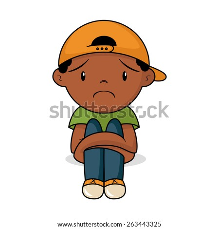 sad toddler  vector illustration