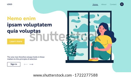 Sad unhappy girl crying at home. Depressed young woman sitting on window sill, embracing knees. Vector illustration for mental disorder, depression, illness concept
