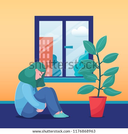 Sad, unhappy teenage girl, young woman sitting at home alone, sunny weather in the window, flat vector illustration. Depressed, sad, unhappy girl, woman sitting home alone, feeling lonely