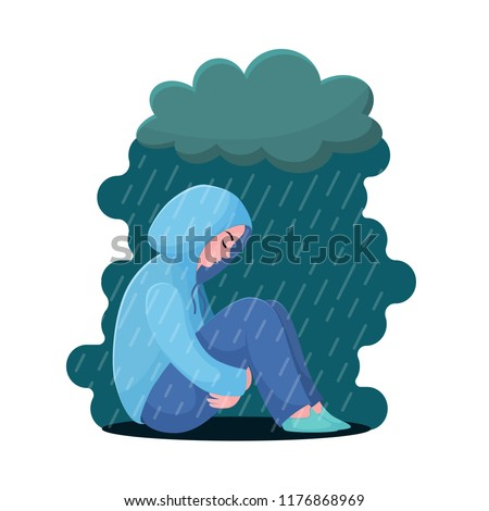 Sad, unhappy teenage girl, young woman sitting in hoodie under rain, depression concept, flat vector illustration isolated on white background. Depressed, unhappy girl, woman sitting under rain cloud