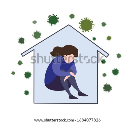 Sad, unhappy woman sitting in house with corona virus around. Vector illustration about stress, loneliness, depression in quarantine. Self isolation at home in covid-19 epidemic, coronavirus pandemic