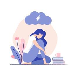 Sad, unhappy young woman sitting under dark cloud. Psychology, depression, bad mood, stress. Flat vector illustration.