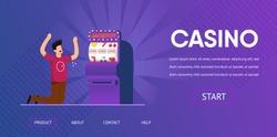 Sad Unlucky Man Cry Lose Cash Slot Machine Loser Vector Illustration. Jackpot Risk Bad Luck Money Loss Gambling Addiction Gambler Concept. Las Vegas Online Internet Casino Banner Website