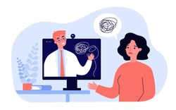 Sad woman counseling with psychologist online isolated flat vector illustration. Cartoon psychiatrist giving advice via internet consultation. Psychotherapy and mental health concept