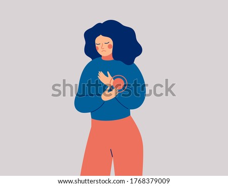 Sad woman has pain or discomfort in hand. Young female person suffered an injury to her wrist. Healthcare Concept. Vector illustration
