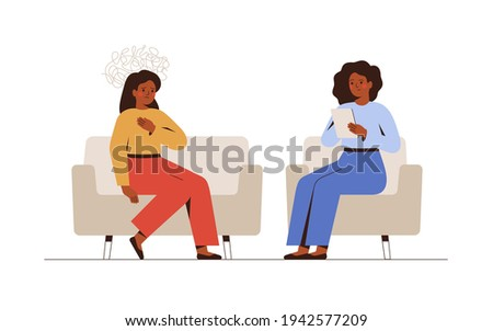 Sad woman talks during a mental therapy session with her psychotherapist or psychologist. Female psychologist has an individual meeting with her patient. Vector illustration Foto stock ©