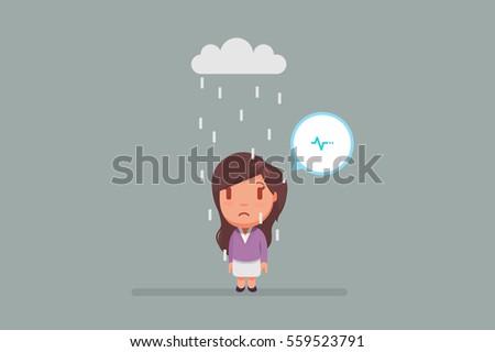 sad woman under a cloud