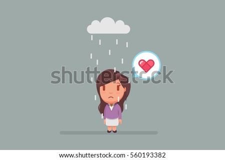 sad woman under a cloud