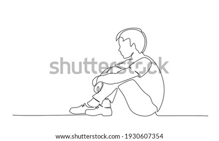 Sad young boy teenager sitting alone. Continuous one line drawing. Vector illustration Foto stock ©
