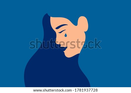 Sad young girl is crying on a blue background. Side view of weeping woman emotions grief. Human character vector illustration