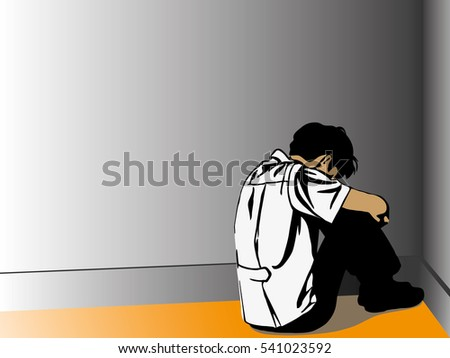 Sad young man sitting on the floor in corner of room, Depression sadness loneliness jobless unemployment vector illustration, businessman sad silhouette worried
