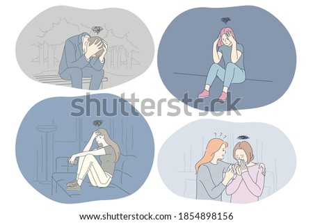 Sadness, stress, loneliness, mental depression, bad news, grief concept. Young unhappy sad people getting support of friends and feeling depressed with thoughts after negative events and breaking up