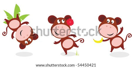 Safari animals: Brown cute monkey poses isolated on white background. Jumping monkey with palm leaf, dancing monkey and monkey with banana. Vector cartoon illustration of funny african animal.