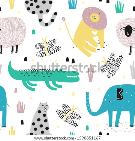 Safari animals seamless pattern with cute elephant, dangerous alligator, wild cat, cute lion and tropical plants. Vector texture in childish style great for fabric and textile, backgrounds.
