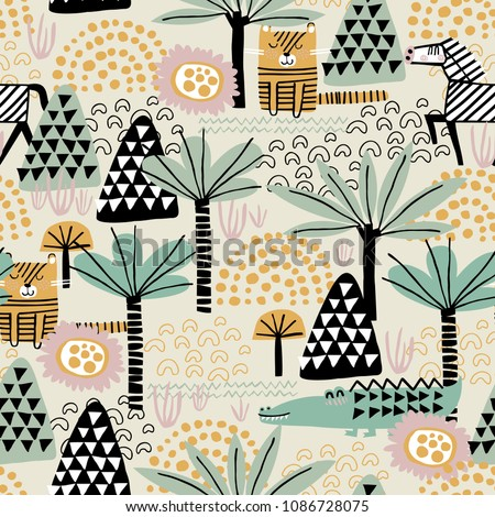Safari animals seamless pattern with cute zebra, dangerous alligator, tiger and tropical plants. Vector texture in childish style great for fabric and textile, wallpapers, backgrounds. Pastel colors.