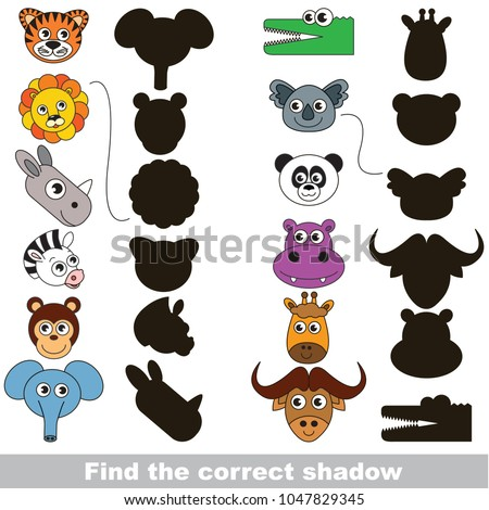 Safari animals set to find the correct shadow, the matching educational kid game to compare and connect objects and their true shadows, simple gaming level for preschool kids.