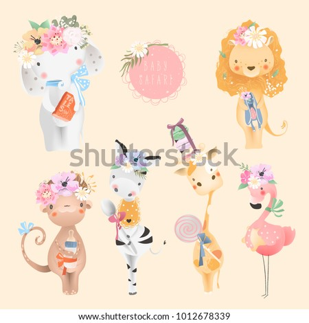 safari baby animals collection. ...