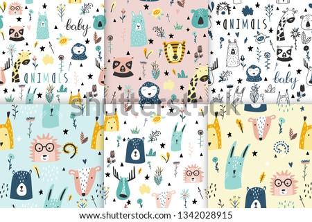 Giraffe Pattern Set - Download Free Vectors, Clipart