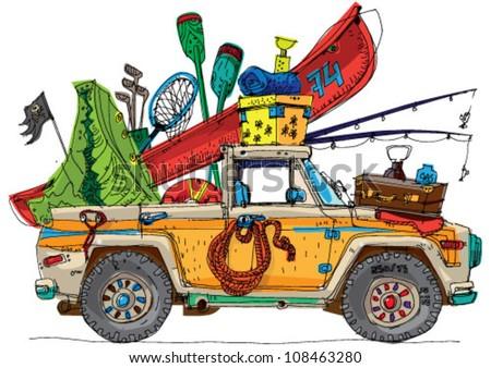 Safari  Photo on Stock Vector Safari Car Cartoon 108463280 Jpg