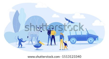 Safari Car Tour to Open Air Zoo. Cartoon People with Children Visiting African Zoological Park. Wild Animals and Birds Meeting Gests. Exciting Entertainment on Vacation. Vector Flat Illustration Zdjęcia stock ©