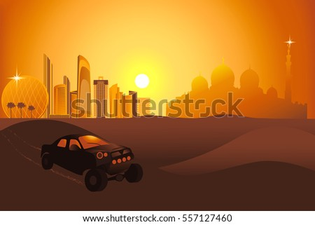 safari cars at the sunset in