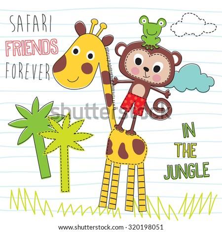stock-vector-safari-friends-giraffe-monkey-frog-vector-illustration