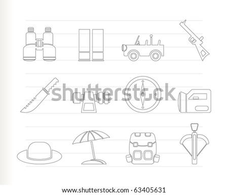 safari, hunting and holiday icons - vector icon set