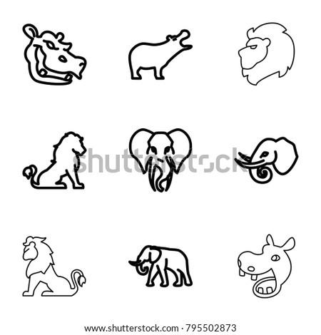 safari icons set of 9 editable