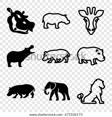 Safari icons set. set of 9 safari filled and outline icons such as hippopotamus, elephant, giraffe
