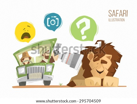 safari illustration man and