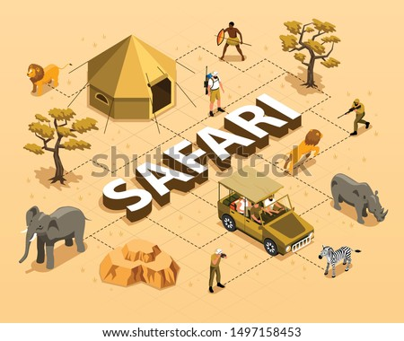Safari isometric flowchart with wild animals car tent trees and hunters 3d vector illustration