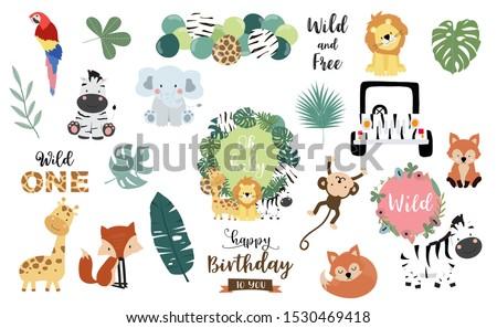 Safari object set with fox,giraffe,zebra,lion,leaves,elephant. illustration for sticker,postcard,birthday invitation.Editable element Stock fotó ©