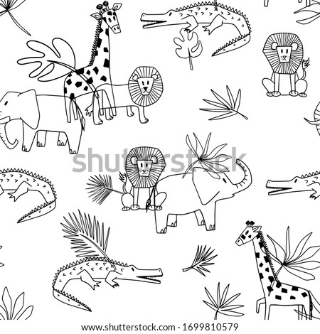 Safari outline vector seamless pattern.  Cute jungle giraffe, elephant, lion, alligator pattern for kids on white background. Childish pattern for wrapping paper, fabric, textile, wallpaper, decor