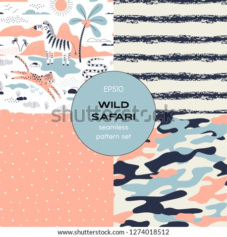 Safari themed vector seamless background set includes zebra leopard snake wild animals, grunge stripes, polka dots and camouflage patterns, vector graphics, kids and baby summer textile tee shirt