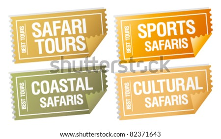 Safari tours stickers in form of  tickets. - stock vector