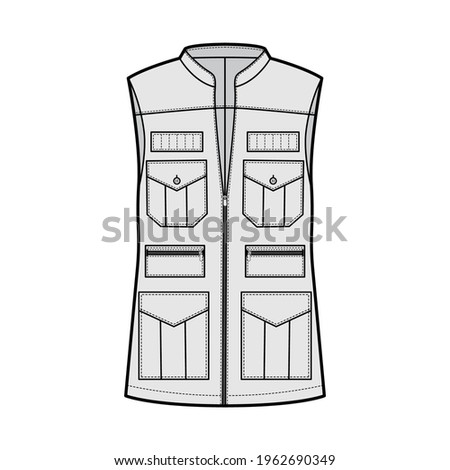 Safari vest waistcoat technical fashion illustration with sleeveless, stand collar, zip-up closure, pockets, oversized body. Flat template front, grey color style. Women, men, unisex top CAD mockup Stock photo ©