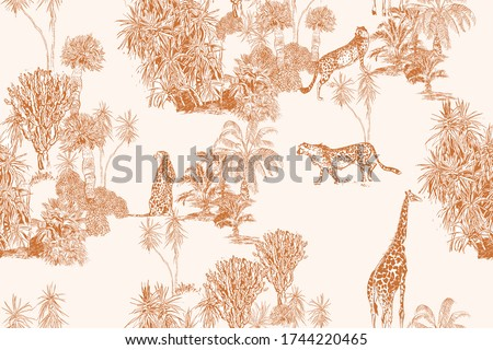 Safari Wildlife Cheetah, Giraffe in Exotic African Plants Engraving Doodle Drawing, Tropical Wallpaper Mural Toile Seamless Pattern on Pink Background, Hand Drawn Lithograph Textile Summer African