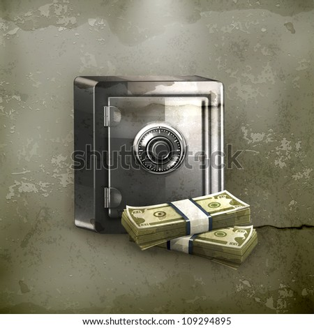 safe and money  old style vector