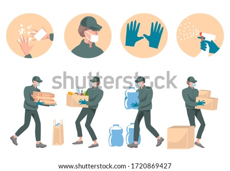 Safe contactless delivery and courier service concept during a Coronavirus (COVID-19).Courier in protective mask and gloves holding box, bottle of water, pizza, food. Protective  measures for delivery