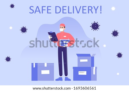 Safe delivery and courier service during a Coronavirus (COVID-19) novel. Delivery man in a medical mask holding delivery box. Logistics and safe delivery concept. Vector illustration