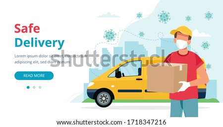 Safe delivery concept, delivery man with a box wearing mask and yellow car. Vector illustration in flat style