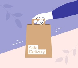 Safe delivery concept. Human hand in gloves holding bag with products. Stay home and order food or goods by courier service delivery. Isolation, coronavirus quarantine, protection. Vector illustration