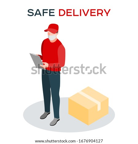 Safe delivery during a coronavirus pandemic. A courier in a medical mask delivers orders. Isometric logistics and safe delivery concept. Delivery home and office. City logistics.