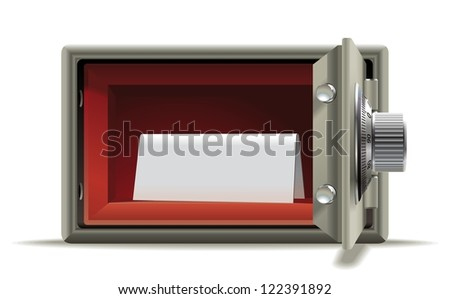 Safe deposit blank. Realistic illustration of an open safe with a place for an inscription.