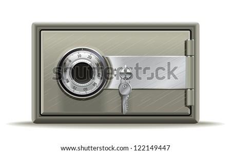 Safe deposit. Realistic illustration of a safe or safety deposit box in the key code.
