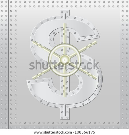 safe dollar - stock vector
