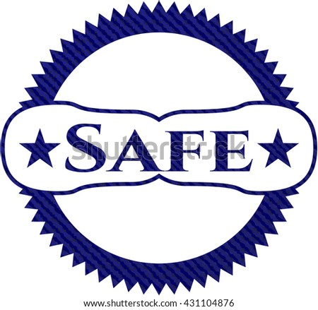 Safe emblem with jean high quality background