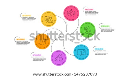 Safe energy, Touch screen and Ab testing line icons set. Infographic timeline. Presentation, Organic product and Project deadline signs. Thunderbolt, Web support, Test chat. Education board. Vector