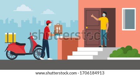 Safe fast food delivery at home during coronavirus covid-19 epidemic: man delivering a bag with a ready meal to a customer and keeping a safe distance, he is wearing a protective face mask and gloves