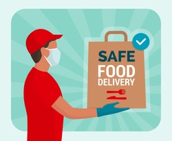 Safe food delivery at home during coronavirus covid-19 epidemic: delivery man holding a bag with fast food, he is wearing a face mask and gloves